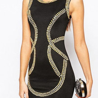 Black Round Neck Sleeveless Sequined Detail Backless Bodycon Dress