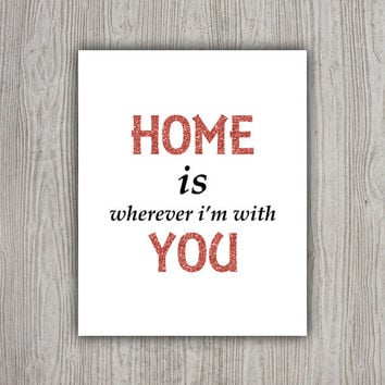 New Home Print, Family Wall Decor, Typographic Print, Home Printable Wall Art, Red Glitter INSTANT DOWNLOAD