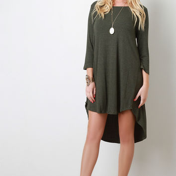 Stripe Quarter Sleeve High Low Shift Dress