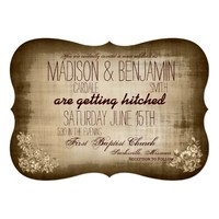 Rustic Vintage Typography Wedding Invitations