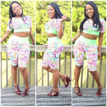 Green Loom Band Print Short Sleeve Cropped Top and Shorts