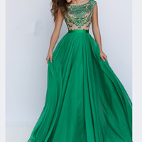 Cap Sleeved Beaded Bodice Sherri Hill Prom Gown 11332