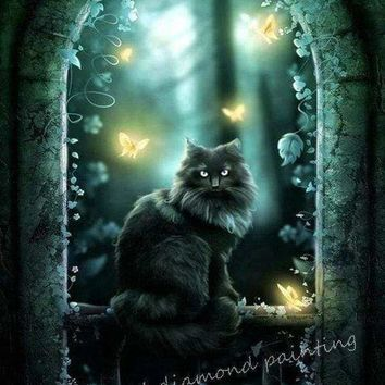 5D Diamond Painting Black Cat and Yellow Butterflies Kit