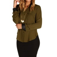 Sale-olive Faux Leather Sleeve Top