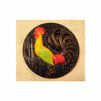 Chalkware Rooster Plaque vintage 70s Shabby Farmhouse Rustic Cottage Chic Black Red Yellow Green Gold Chicken