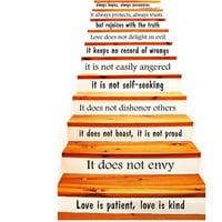 Wall Decal Quote Love is Patient, Love is Kind - 1 Corinthians 13 STAIR CASE Stairway Decals Vinyl Sticker Home Art Decor Staircase KV35