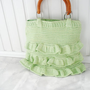 Summer bag Mint green pastel Beach party tote bag Totes purses handbags Beach  tote bag Crocheted knitted knit bags Womens accessories