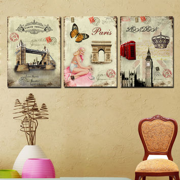 3 Panel Wall Art Picture Europe Retro Decorative Paintings Famous Building Vintage Canvas Prints For Home Decors No Framed New