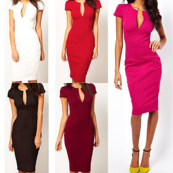 New Ladies' Sexy V-Neck Fashion Celebrity Bandage Pencil Dress Women Work Slim Knee-Length Pocket Party Bodycon OL Dress G0260 = 5659249089