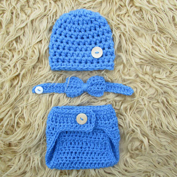 Baby Boy Photo Outfit Baby Crochet Outfit Newborn Boy Hat Bow Tie Diaper Cover knit Photo Prop Set Baby Boy Photo Outfit Knit Boy Outfit