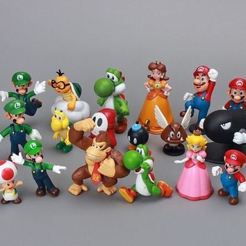 Super Mario party nes switch Hot Sale 18pcs/set  PVC Action Figures Model Toys Japanese Anime Vinyl Doll Pendant  Bros Birthday Decor Kid Toy AT_80_8