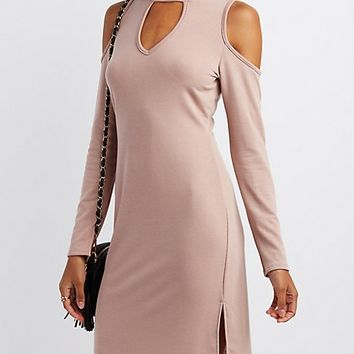 Mock Neck Cold Shoulder Keyhole Dress