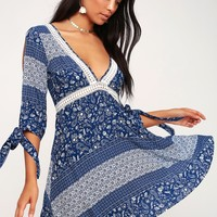 Adler Blue and White Print Crochet Lace Dress