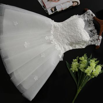 In Stock New white short wedding dress brides Beautiful lace wedding dress bridal gown vestido de noiva Special Occasion Dress