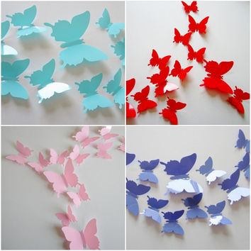 3D Butterfly Wall Art / Wall Stickers / Wall Decal - Solid Colors [Check description for availability]