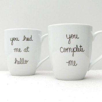 "Jerry Maguire Mugs - ""You Complete Me"" and ""You Had Me at Hello"" Mug Set of 2 - Love Valentine's Day Mug -Black on a White Coffee Cup"