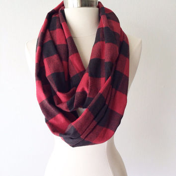 Black & Red Plaid Flannel Infinity Scarf - Handmade - Preppy, Classic, Edgy, Boho, Soft, Warm - Gift for Her, Birthday, Fall Fashion, Chic