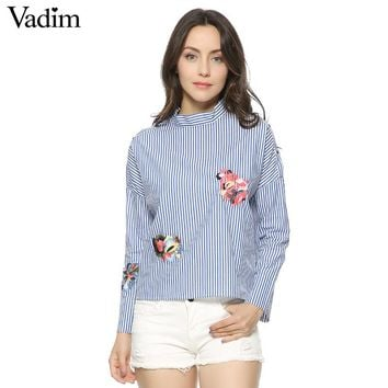 Women elegant striped floral embroidery shirts full cotton long sleeve stand collar loose blouse casual tops blusas LT1145