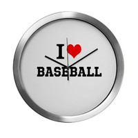 I HEART BASEBALL Modern Wall Clock