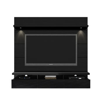 Cabrini 1.8 Floating Wall Theater Entertainment Center in Black Gloss and Black Matte