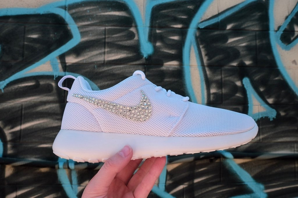Nike Roshe One + Crystals - White from Glitter Kicks 61b95b1d0b1d