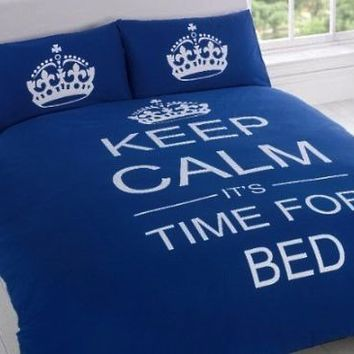 FULL NAVY BLUE TEENAGER KEEP CALM ITS TIME FOR BED COTTON REVERSIBLE COMFORTER COVER