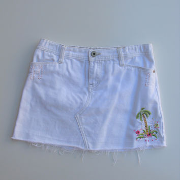 Gap Kids Distressed Sequin White Jean Mini Skirt 12
