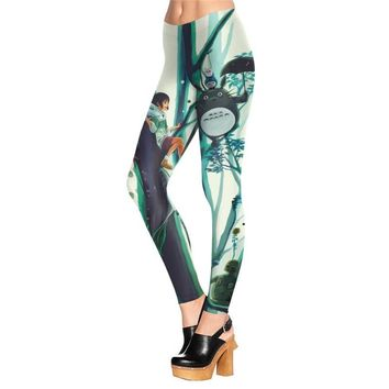 My Neighbor Totoro Women's Green & White Slim High Waisted Elastic Printed Fitness Workout Leggings