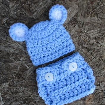 Newborn Boy Light Blue Bear Outfit Baby Photo Prop