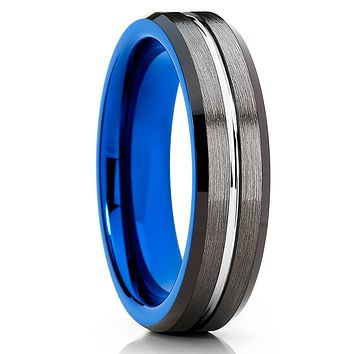 Blue Tungsten Band - Gray Tungsten Ring - 6mm - Black Tungsten Ring
