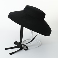 Audrey Hepburn Wool Hat Women Vintage Hat 100% Wool Felt Floppy Winter Ladies Elegant Black Hats with Ribbon Tie 975001