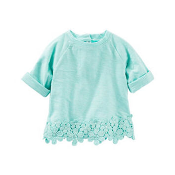 Baby Girl OshKosh B'gosh® Floral Lace Slubbed Top