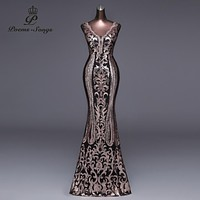 Double-V Long Evening Dress Sexy Backless Luxury Gold Sequin Formal Party Dress Prom Gowns