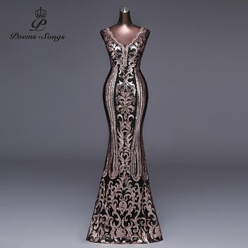 Double-V Long Evening Dress Sexy Backless Luxury Gold Sequin For 3341528af7b3