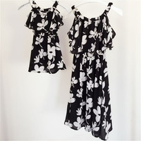 Mother & daughter dresses family look clothing mom and daughter dress chiffon babymmclothes mommy and me clothes