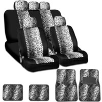 New and Unique YupbizAuto Brand Safari Snow Leopard Print Universal Size Car Truck SUV Seat Covers and Floor Mats Set High Quality Velour and Mesh Material Gift Set Smart Pocket Feature
