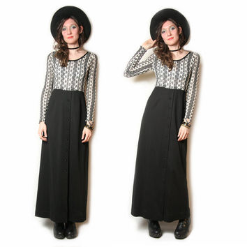 70s Black and White Maxi Dress - Long Sleeve - Button up Skirt - Boho Bohemain - 70s Dress - Boho Dress - Size S M - Mesh Dress - Hippie