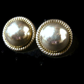 Sterling Domed Stud Earrings, Mexico 925 Sterling Silver Post Pierced Button Earrings