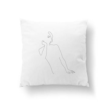 Female Upper Body Pillow, Cushion Cover, Throw Pillow, Woman Figure, Black And White, Home Decor, Minimal Silhouette, Bed Pillow, Female Art