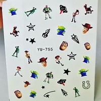 3 sheets toy story water Nail Decal, Woody, Buzz lightyear Nail Decal