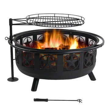 Sunnydaze Black All Star Fire Pit with Cooking Grate 30 Inch Diameter