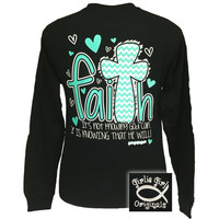 Girlie Girl Faith 2 Chevron Heart Cross Christian Long sleeve T Shirt