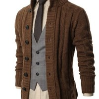 H2H Mens Premium Various Styles Twisted Knit Cardigan Sweater with Button Details