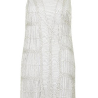 Crochet Beaded Flapper Dress - Light Grey