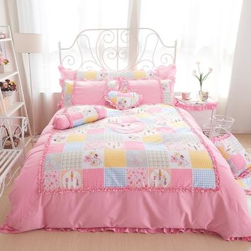 100%Cotton king queen twin size girls single double Bedding set princess style ruffles bed set bedskirt set pillowcases