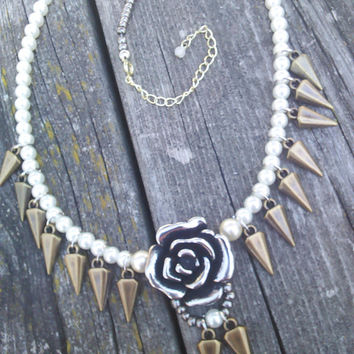 Spiked Rose Necklace, Pearl Necklace, Rose Jewelry, Steampunk Steam Punk Jewelry, Gypsy Necklace, Gothic Necklace,Wiccan Pagan Pearl Jewelry