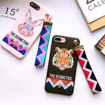 Europe Animal Tiger Rabbit Stud Rivet Wrist Strap Case for Apple iPhone 7 Case for iPhone 6 case 6S 7PLus Soft TPU Silicon Cover