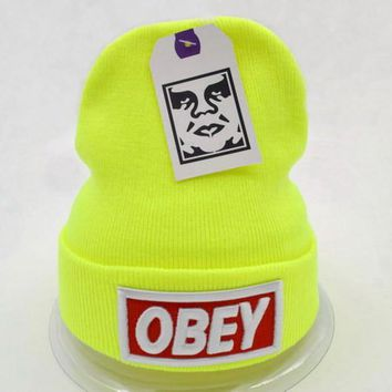 Obey Women Men Embroidery Beanies Knit Wool Hat Cap-16
