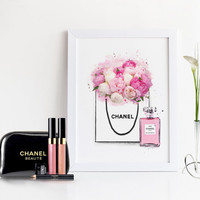 COCO CHANEL ART,Chanel Pink Peonies Bag,Watercolor Flowers,Chanel Shopping Bag,Chanel perfume Bottle,Chanel Illustration,Makeup Art,Perfume