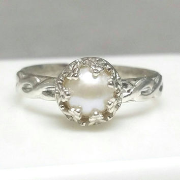 Pearl Ring, Sterling Silver Pearl Ring, Celtic Ring Band, Pearl Crown Ring, June Birthstone Ring, Size 6 Ring, Princess Ring Maggie McMane